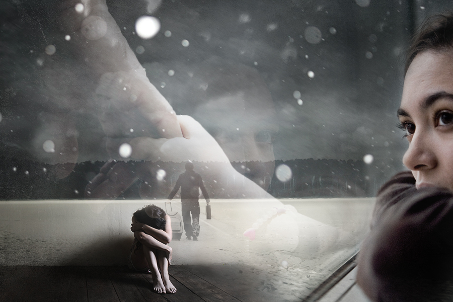 An autobiographical story :A woman visualizing her father leaving her.Photomontage made using Adobe Photoshop and stock images.  Sources : Background , Foreground , Middleground , Snow Texture , Hands