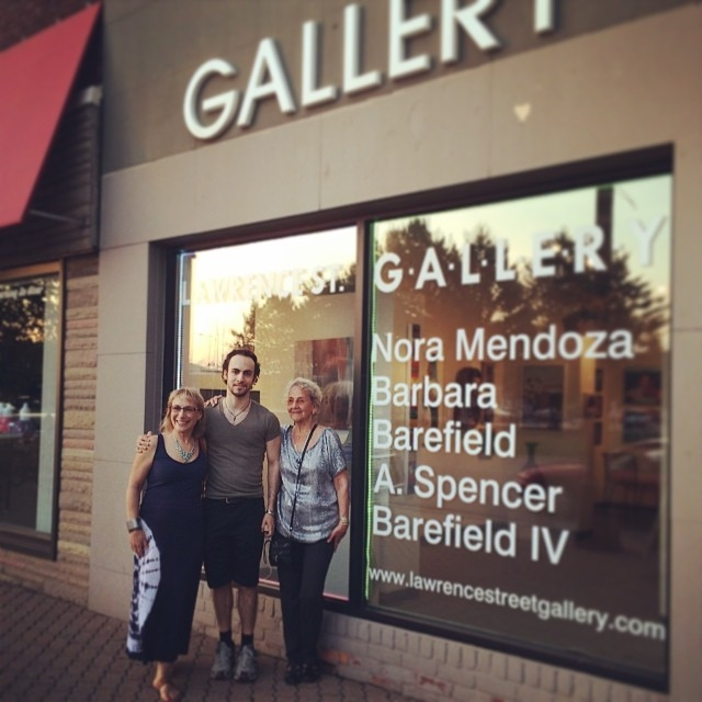 Barbara Barefield, left, with son Spencer and artist Nora Mendoza at the Lawrence Street Gallery in Ferndale, 2014.