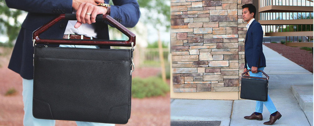 """""""The new leather briefcase that is functional and sophisticated will keep you looking like a million bucks.""""     -George - The It Dad"""