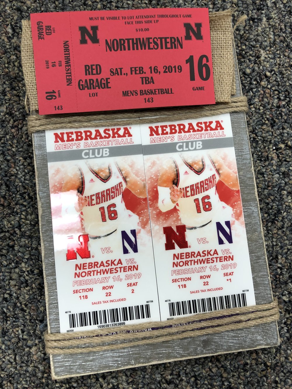 2 Club Level Tickets to Nebraska Basketball vs. Northwestern - Includes a parking pass.