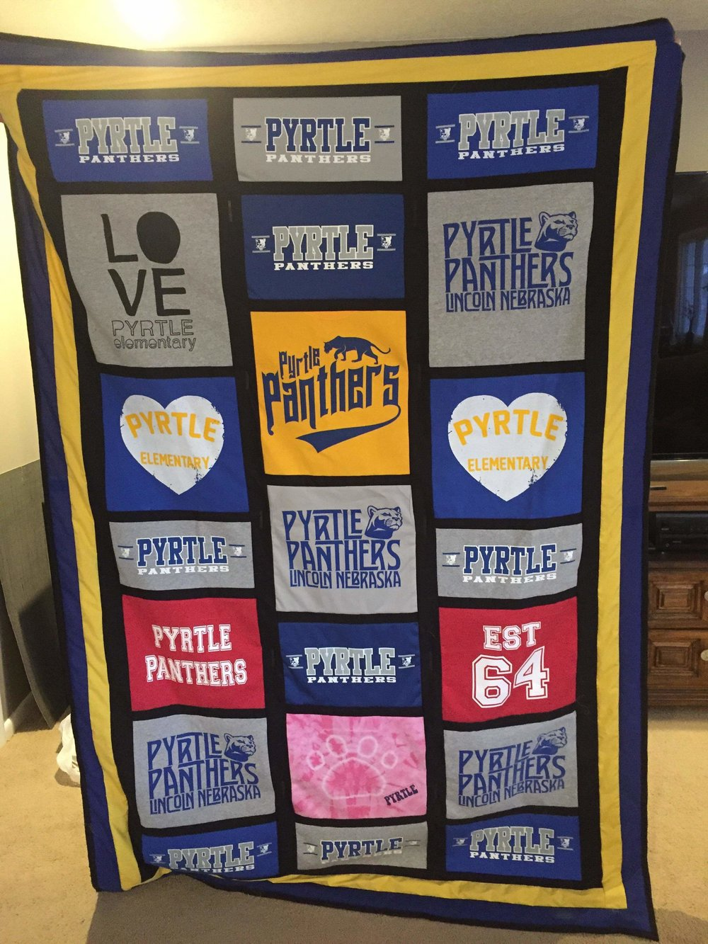 Panther Pride - A very talented Pyrtle parent (Designs by Addie Lee) made this blanket using leftover Pyrtle shirts. It's awesome and it can be yours!