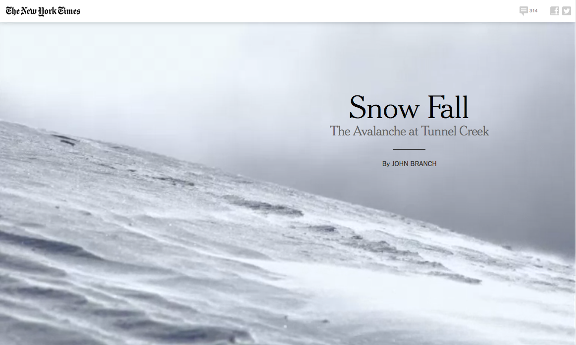 Snow Fall - The Avalanche at Tunnel Creek Impressive multimedia feature in HTML5 by the New York Times.