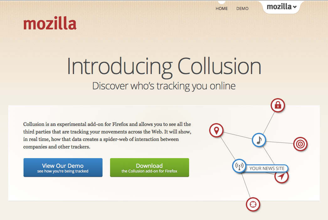 Collusion by Mozilla Collusion provides an interactive, real-time visualization of the entities that track your behavior across the web. http://www.mozilla.org/en-US/collusion/
