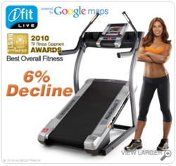 """Treadmill + Google Maps """"iFit Live™ allows you to experience trails all over the world. Plus, to simulate the physical features of the terrain, iFit Live™ automatically adjusts your incline and decline"""" Smart."""