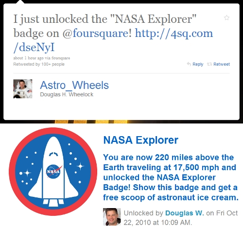 """thedailywhat: Tweet of the Day: Meet The Mayor of Bad Ass City: Astronaut Douglas H. """"Wheels"""" Wheelock just tweeted about unlocking Foursquare's new """"NASA Explorer"""" badge. Oh, did I mention Mr. Wheels happens to tweeting from aboard the International Space Station? [@astro_wheels.]"""