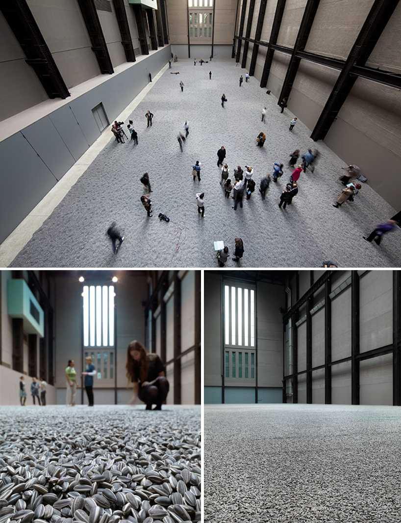 thedailywhat: Art Project of the Day: Commissioned by Unilever to contribute to its ongoing Unilever Series at Tate Modern, Chinese artist Ai Weiwei covered the floor of the museum's turbine hall with millions of hand-crafted porcelain sunflower seed husks. Simply staggering. [designboom.]