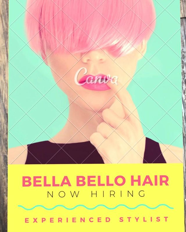 Tell your friends! We are looking for an experienced stylist to join our team. Dm is for more details🎉 #bellabellohair #kevinmurphyproducts #wellahair #wella #wellasalon