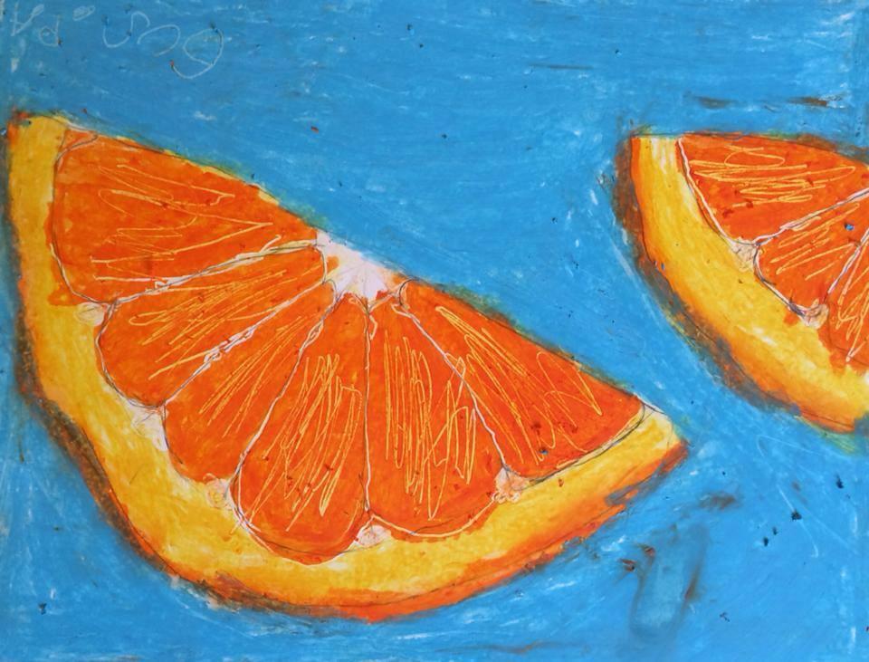 oil pastel~ age 6