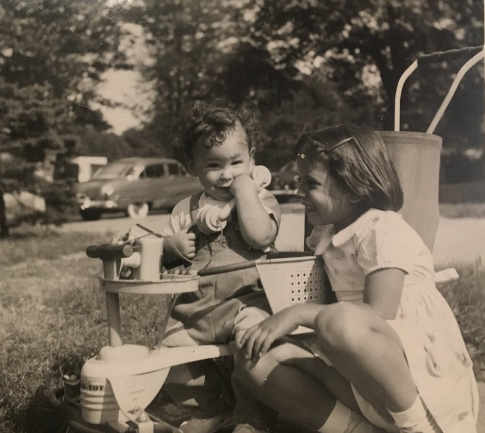 Linda loving baby Larry, 1951