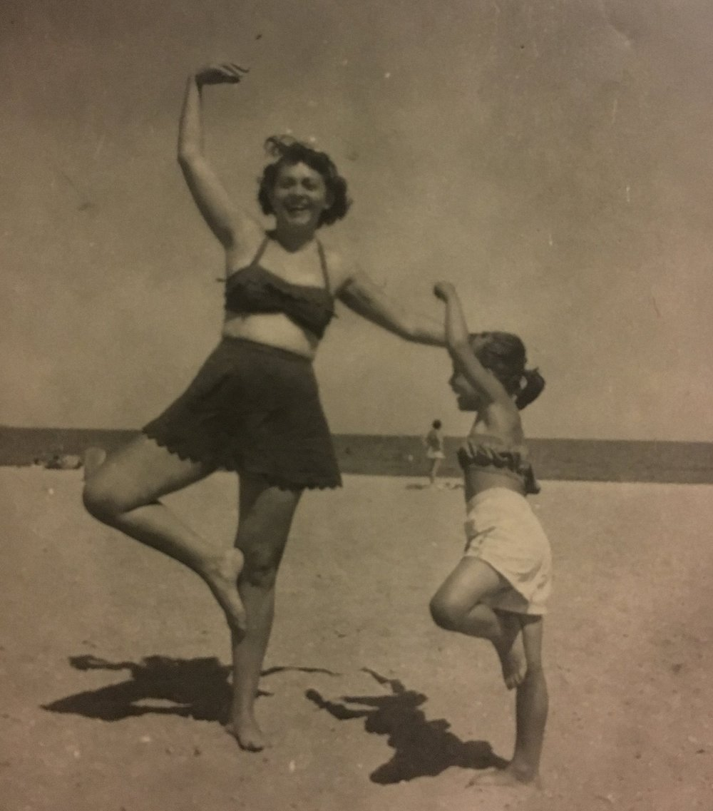 Mom and Linda, dancing on the beach