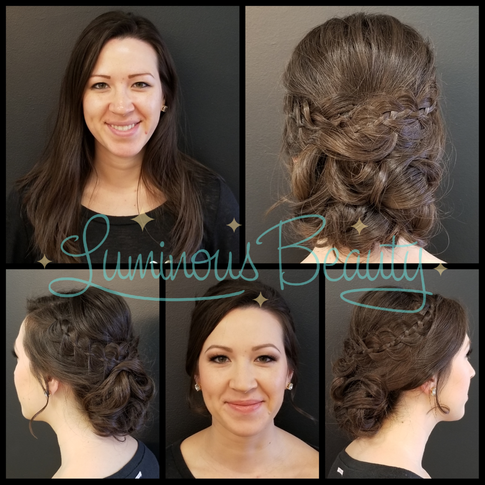 Bridal Trial Run Hair & Makeup. Airbrused Makeup with Soft Smokey Eyes and Mink False Lashes. Luminous Beauty Makeup Artist and Stylist. Undone Updo. Bridal Hairstyle with Braids..png