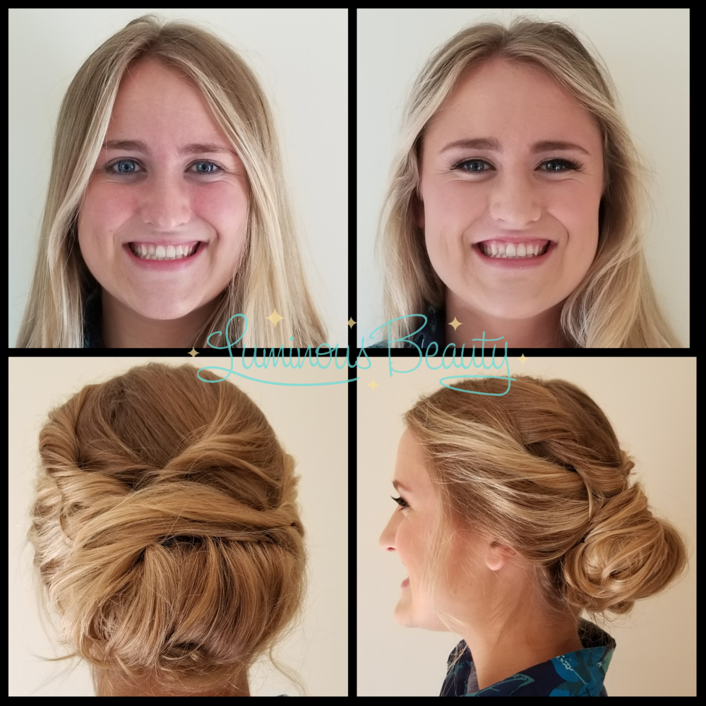 Bridesmaid Hair. Smooth, Twisted Updo. Makeup with Airbrush and Lashes in Plymouth Luminous Beauty Makeup Artist and Stylist.png