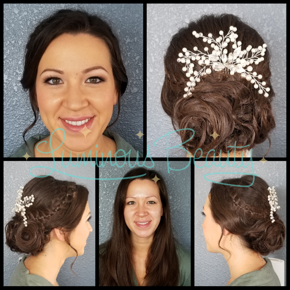 Wedding Day Bridal Look. Airbrush Makeup Application. Soft Swirly Bridal Updo with Braid and Pearl Comb. Soft Brown Smokey Eye, Pink Cheeks, Mink False Lashes. Luminous Beauty Makeup Artist and Luminous Beauty Hairstylist..png