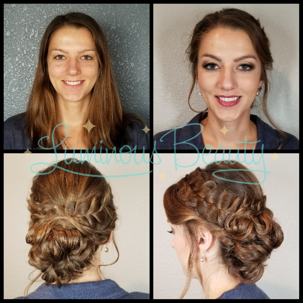 Bridesmaid's Hair & Makeup. Soft Loopung Updo with Braid. Pkum Smokey Eye, Pink Cheeks, False Lashes. Luminous Beauty Makeup Artist and Luminous Beauty Hairstylist..png