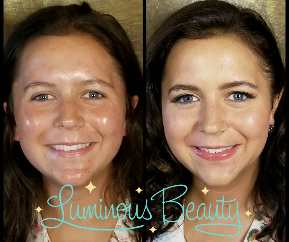 Glowing sister of the bride, acne coverage makeup with airbrush and false lashes. Luminous Beauty Hair & Makeup.png