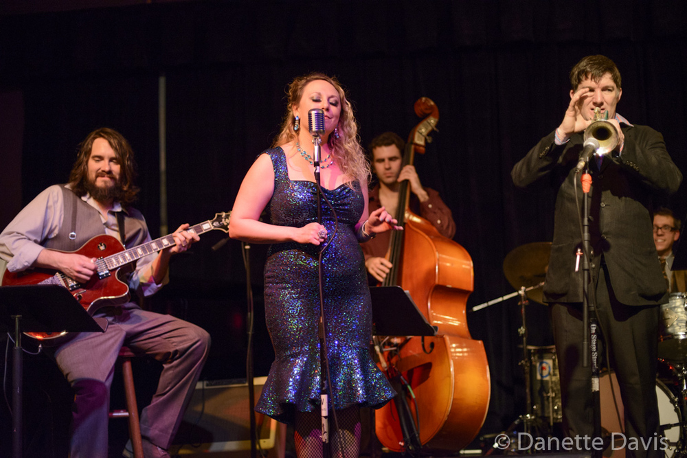 L-R: Jason Goessl, Kate Voss, Birch Pereira, Bill Jones, and Adrian Van Batenburg, of the Kate Voss & the Big Boss Band,  2016 , at the Royal Room