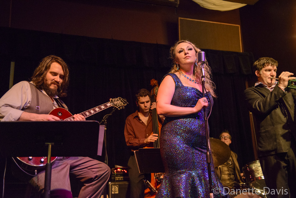 L-R: Jason Goessl, Birch Pereira, Kate Voss, Adrian Van Batenburg, and Bill Jones, of the Kate Voss & the Big Boss Band,  2016 , at the Royal Room