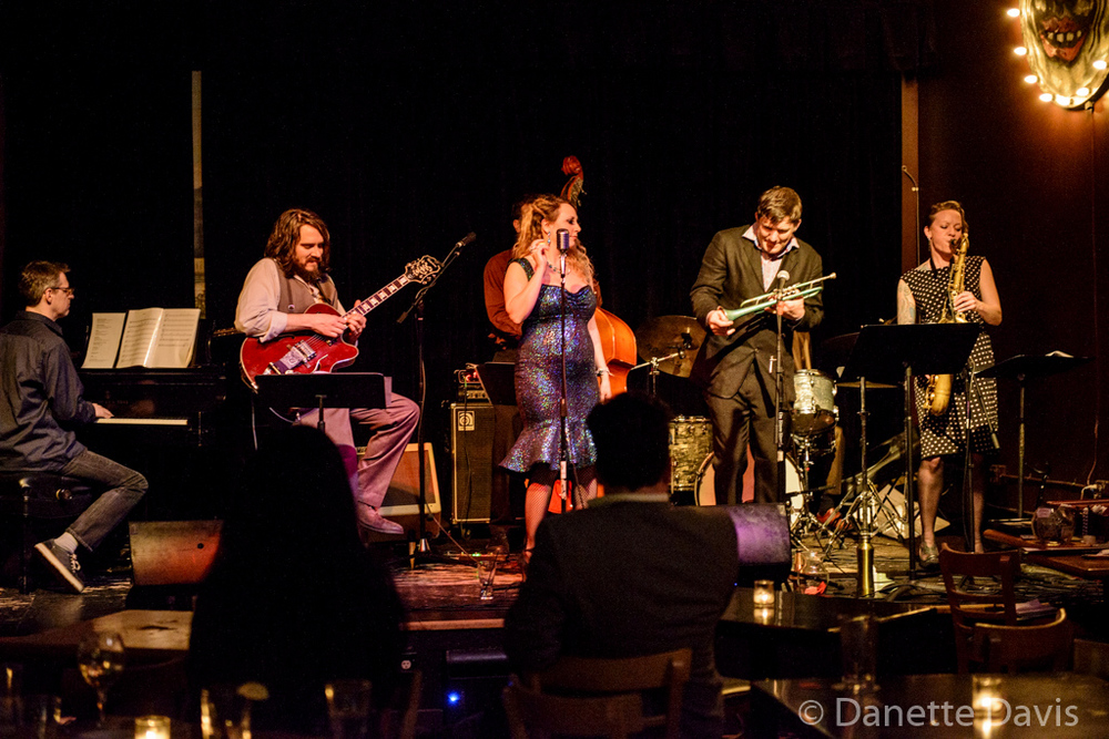 L-R: Ryan Burns, Jason Goessl, Kate Voss, Bill Jones, and Kate Olson, of the Kate Voss & the Big Boss Band,  2016 , at the Royal Room
