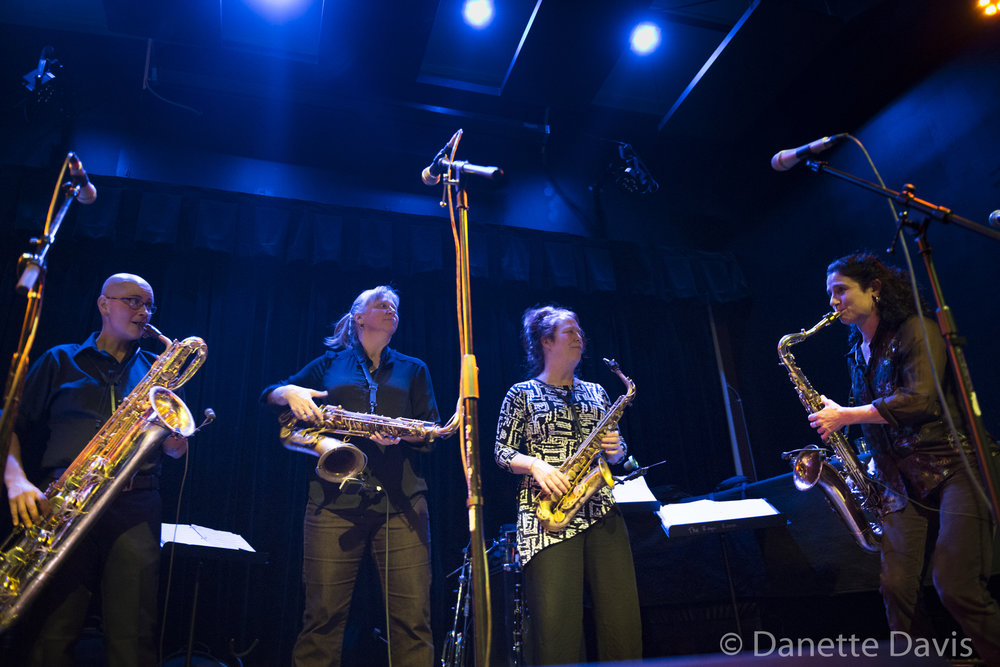 L-R: Tina Richardson, Sue Orfield, Amy Denio and Jessica Lurie, The Tiptons Sax Quartet,  2016