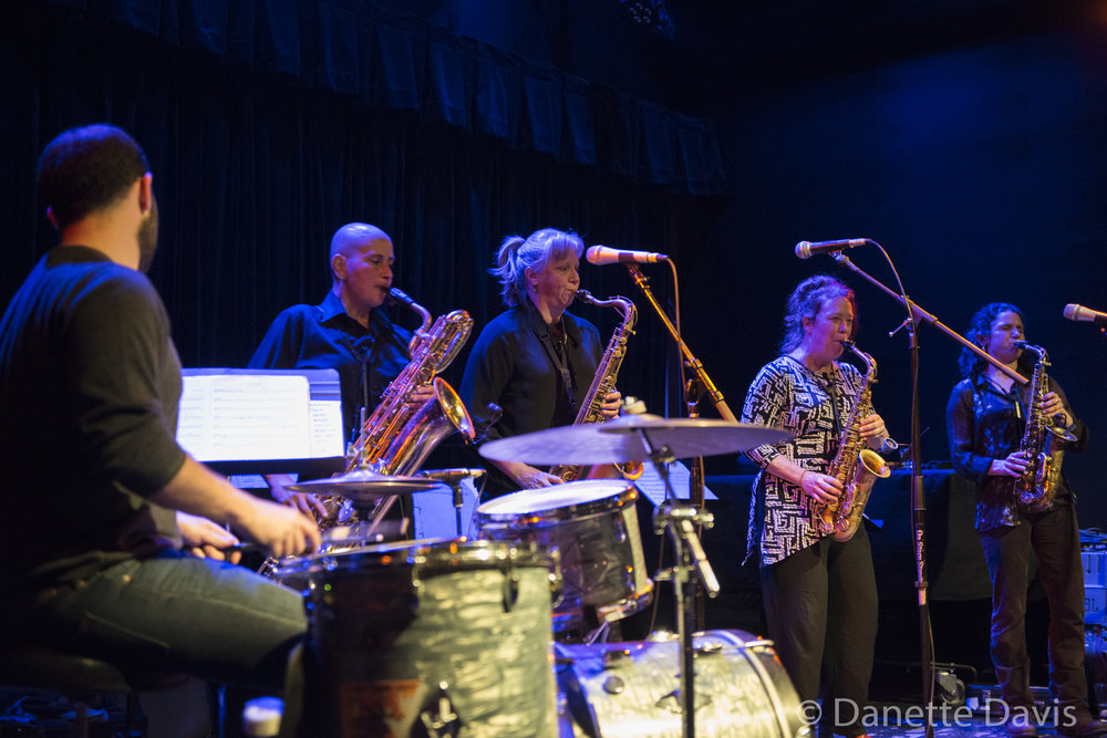L-R: Tarik Abouzied, Tina Richardson, Sue Orfield, Amy Denio and Jessica Lurie, The Tiptons Sax Quartet,  2016