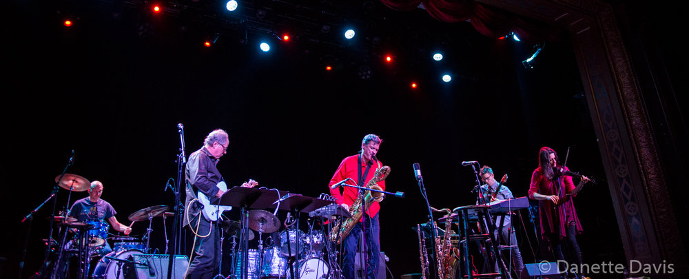 L-R: Brian Oppel, Dennis Rea, Jim Dejoie, Kevin Millard, and Alicia Dejoie, Moraine, Seattle, Triple Door, 2019