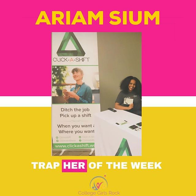 TRAPHER OF THE WEEK: Ariam Sium! Ariam is the Co-Founder of the app Click-A-Shift! Click-A-Shift is an app that gives college students flexibility and economic freedom by working fun event shifts WHENEVER they want. They are currently entered in the FedEx Small Business Grant Competition and need votes to help us win $50,000 for our business. We want to use those funds to help bring Click-A-Shift to students throughout the U.S. so vote for them using the link in their bio! ✨  #TrapHERoftheweek #TRAP