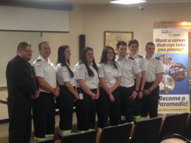 From left to right: Instructor Marc Fournier, students Jason St-Coeur, Marie-Michelle Tremblay, Melanie LeBlanc, Melanie Gautreau, Yanick Godin, Edith Arsenault, and Emmanuel Marquis.