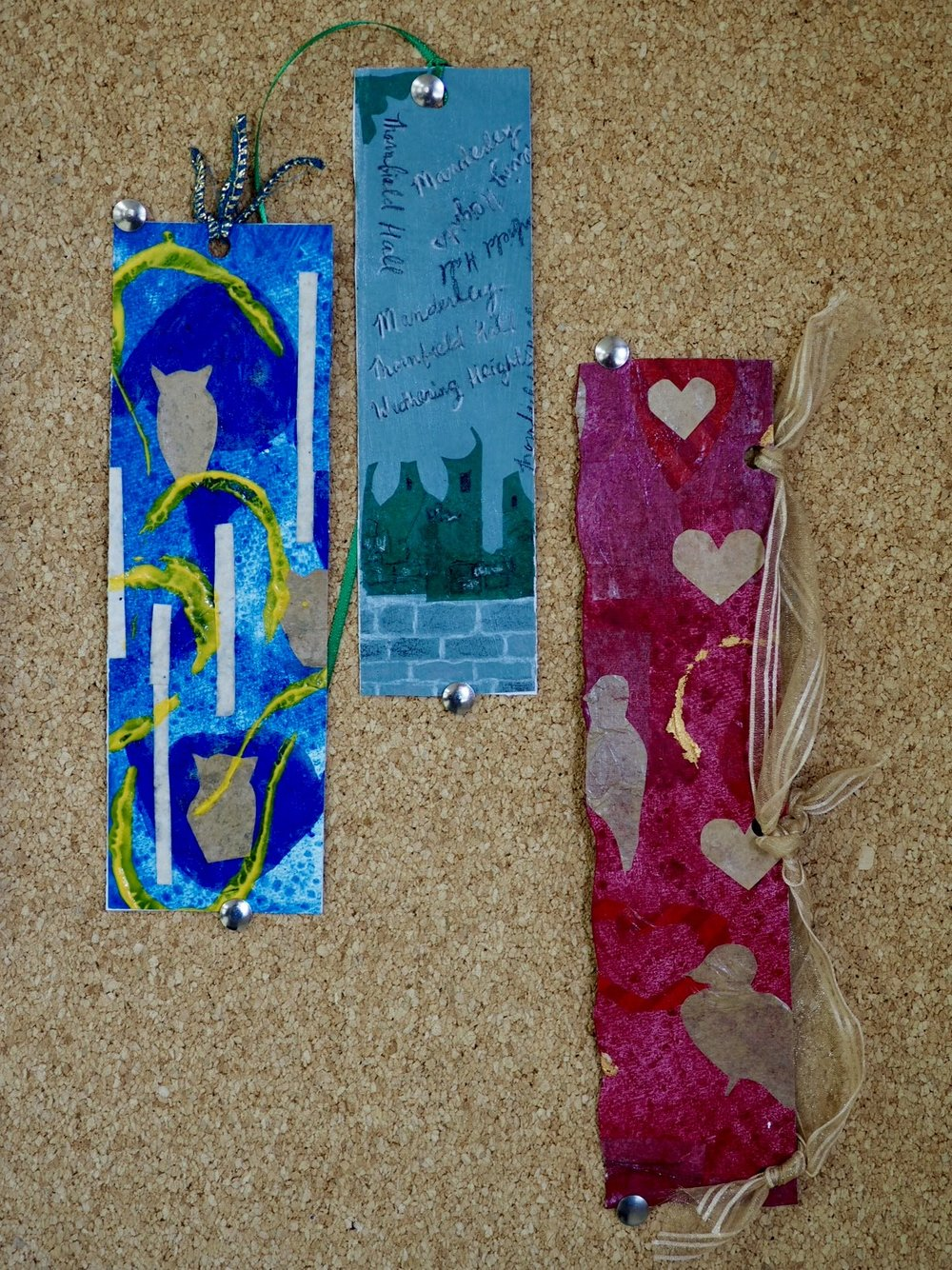 Sample mixed media bookmarks. Register to create a similar project on March 25.