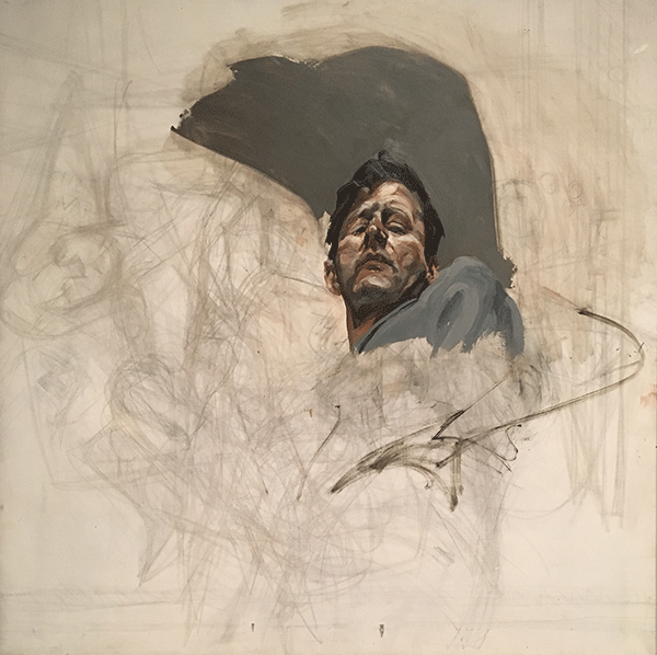 Lucian Freud, Self-Portrait Reflection, Fragment, ca. 1965, Oil and charcoal on canvas