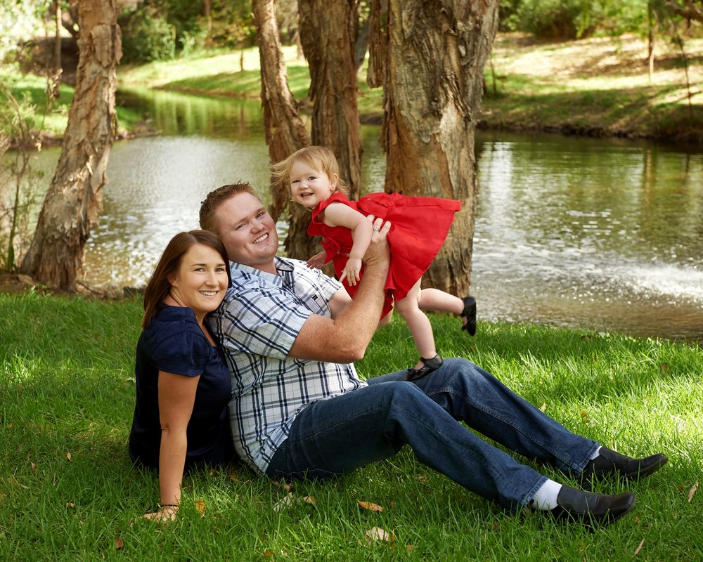 family photography outside at lake