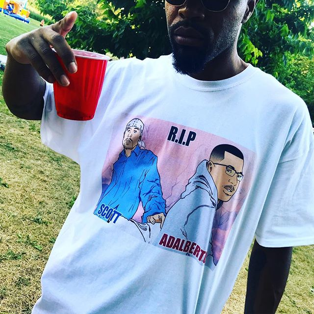 My bro in law @9thillycomic is nice with a pencil. He designed & created these cartoon sketch tees in memory of friends we lost way too soon. Also, a huge S/O to @bajanbosss for putting together an amazing cookout in their honour yesterday. The people and the sun ☀️☀️☀️came out in full force and Scott & Alberto's presences were definitely felt... They would have loved it. 💙❤️