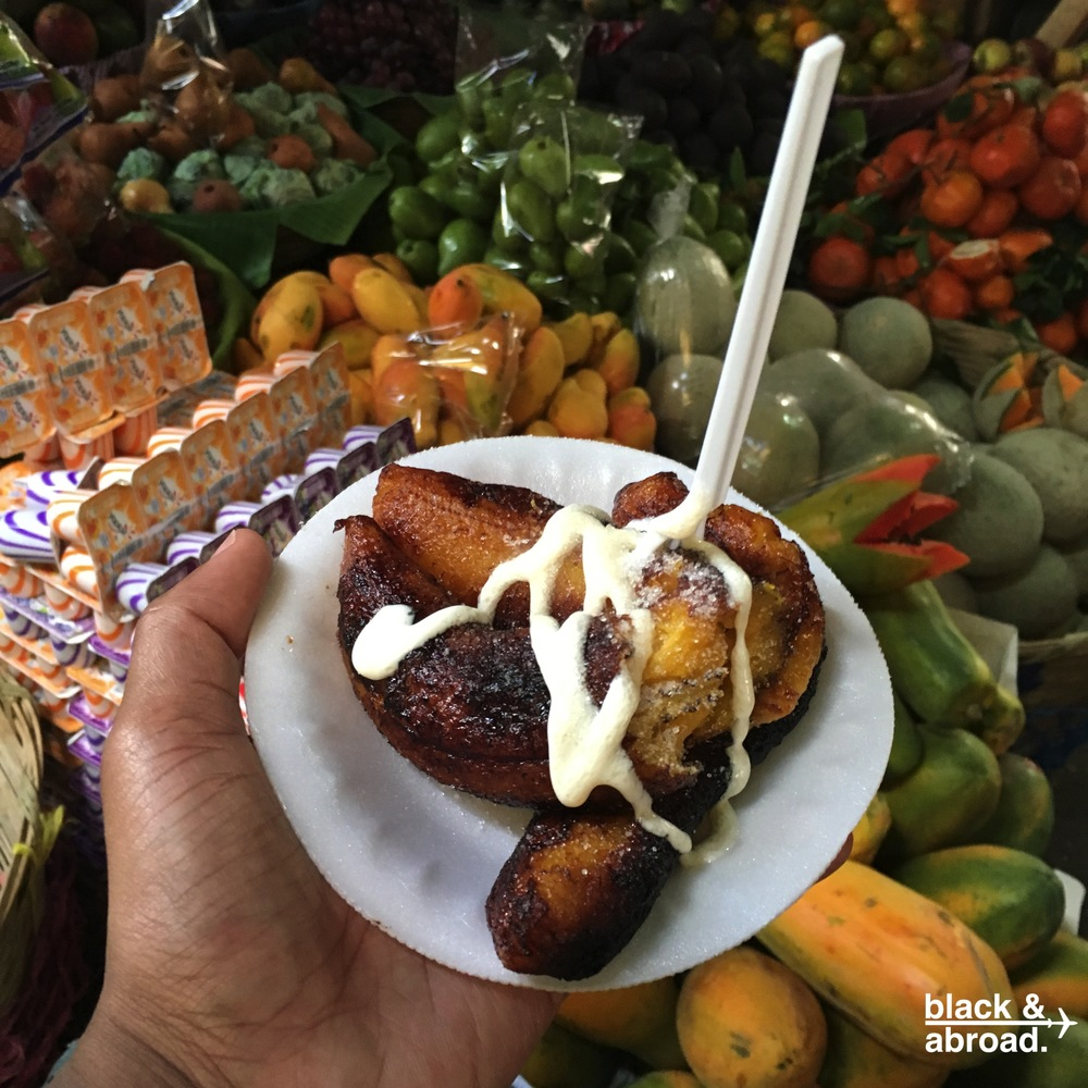 These freshly fried plantains with sweet cream were only 65 cents!