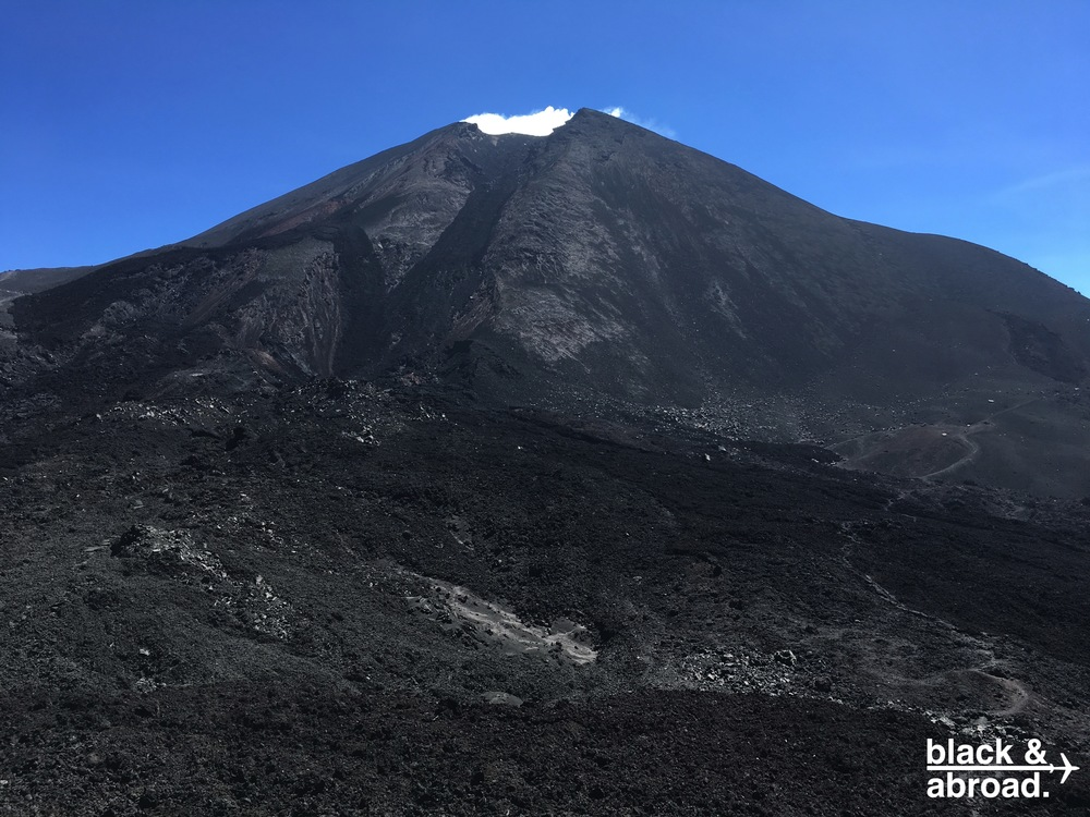 In the crater of Pacaya, you can still feel the heat of the lava underneath the ash.  In some spots, it's hot enough to melt the soles of your shoes!