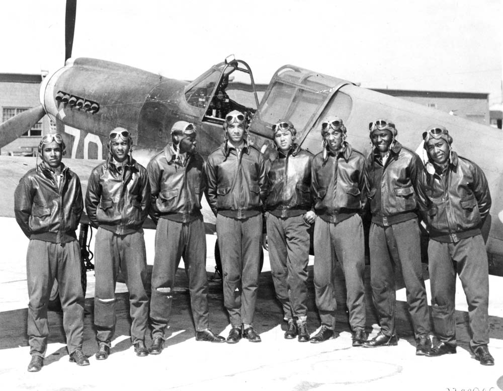 A few of the Tuskegee Airmen, key to the victory in Normandy.