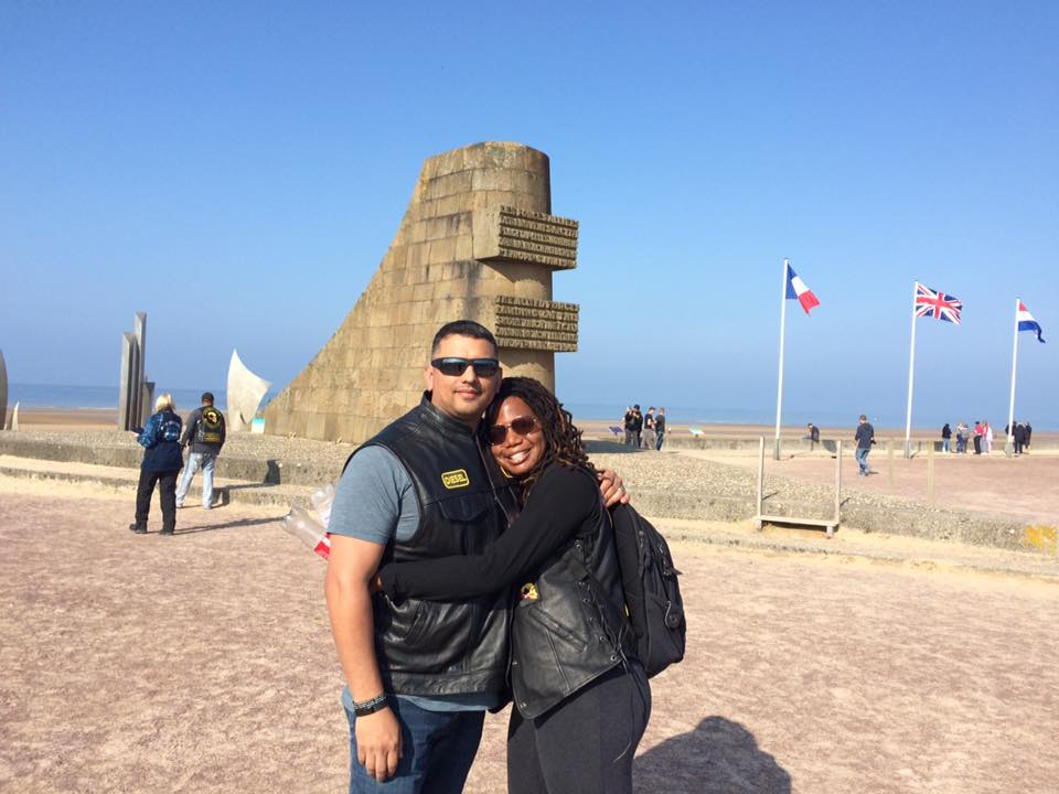 My husband and I enjoying the history in Normandy.