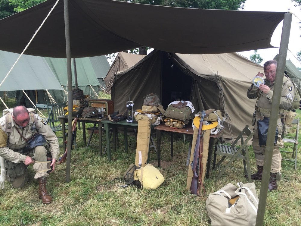 A couple of the war reenactment buffs getting ready to perform.