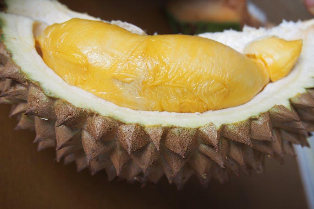 Freshly cut durian in Penang, Malaysia