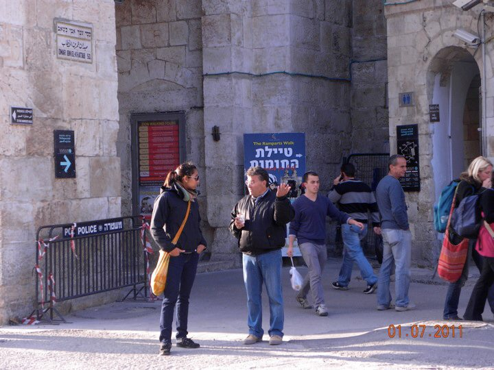 Speaking with a local Palestinian at Jaffa Gate, Jerusalem in a conversation about the Palestinian/Israeli conflict and his surprise at me knowing anything at all about the subject, 2011