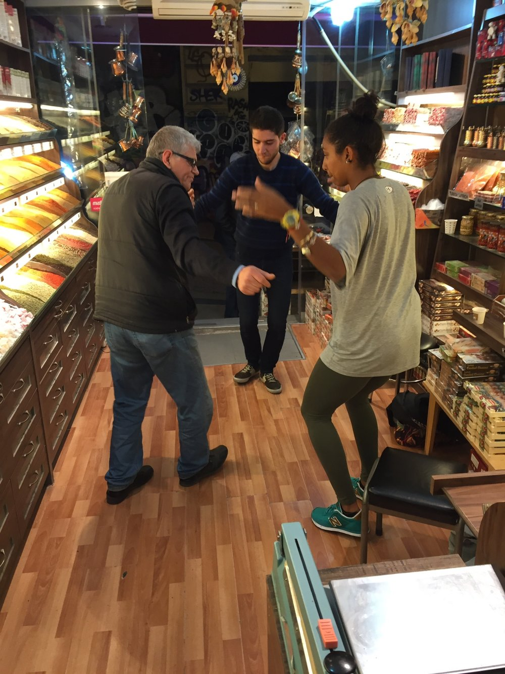 Happening upon traditional Bulgarian dance in an Istanbul nut shop with the Bulgarian owner and Syrian refugee assistant, we spoke in depth for 3 hours over Turkish tea, 2015