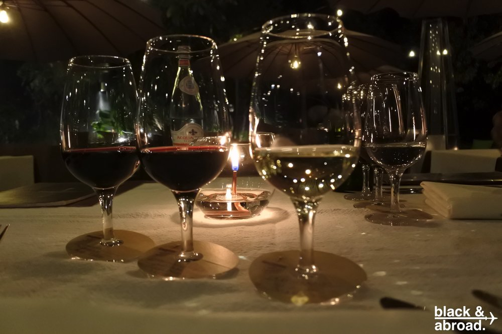 A flight of wines suggested by the sommelier for a perfect pairing with the meal.