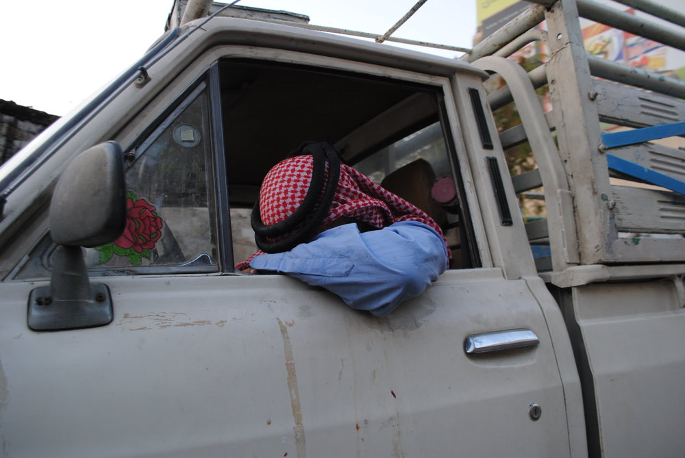 A weary driver in Jordan - he must've taken the Number 11 many times in life