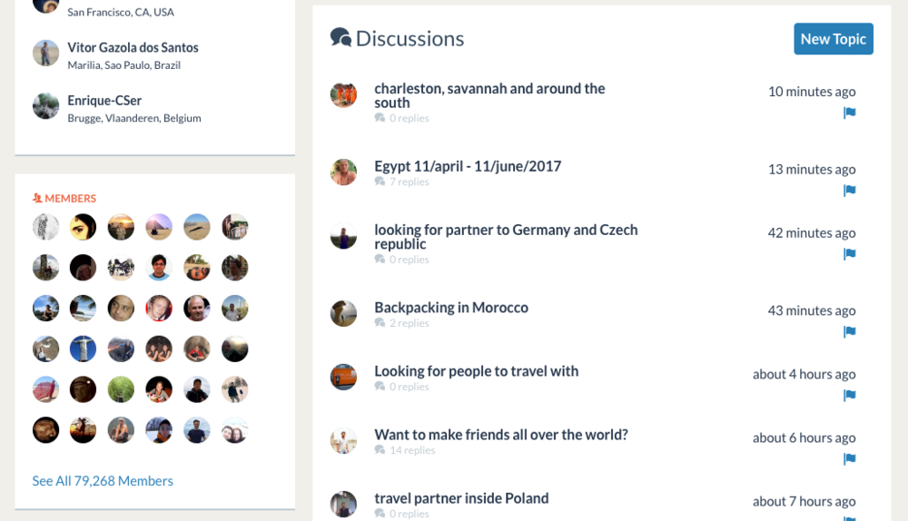 "A screenshot of the ""Travel Companions"" group on Couchsurfing - look at all of those adventures!"