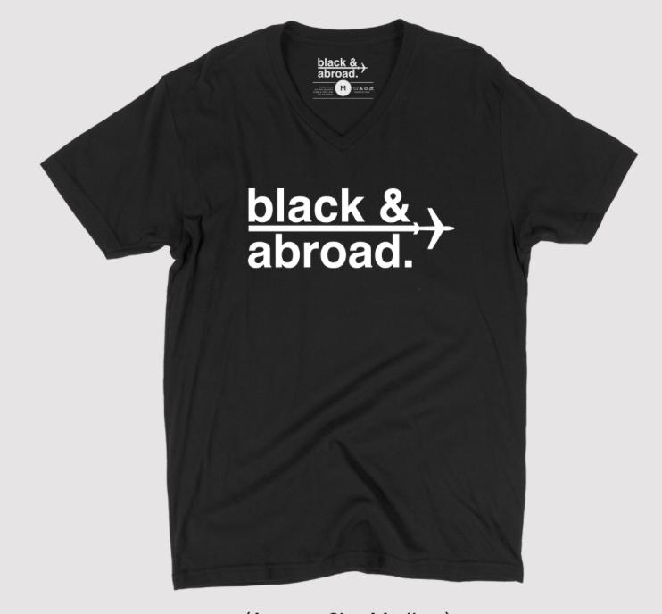 ece6544aeb77e UNISEX SIGNATURE BLACK   ABROAD V NECK TEE — Black   Abroad