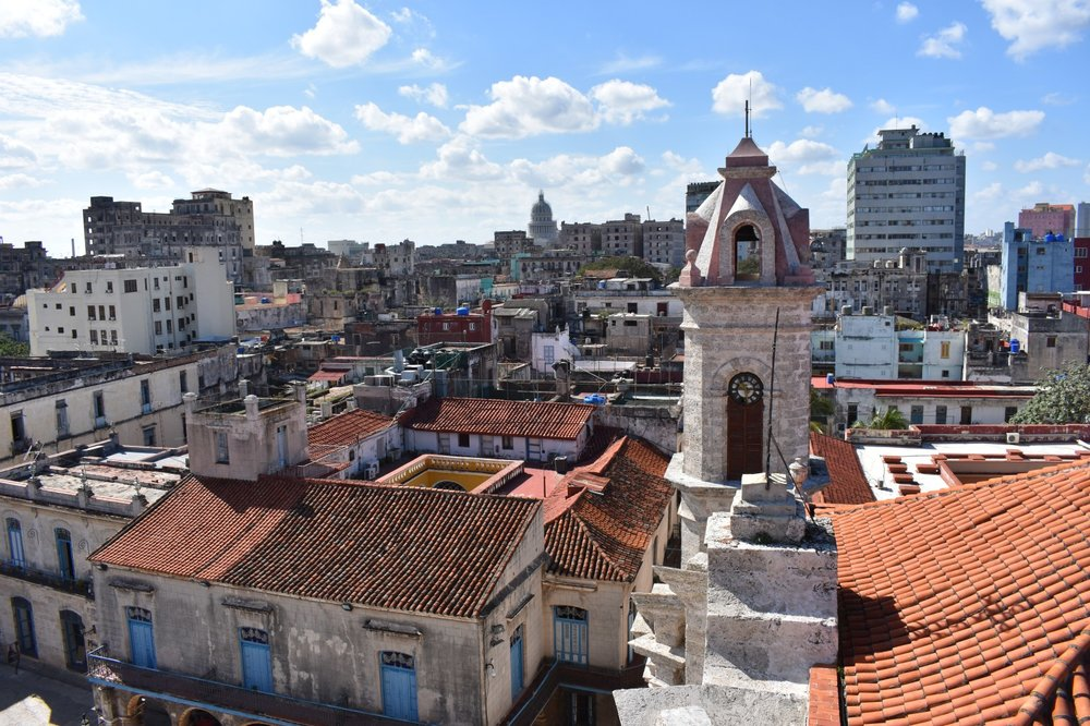 View from the bell tower of Plaza de La Catedral in Havana, Cuba