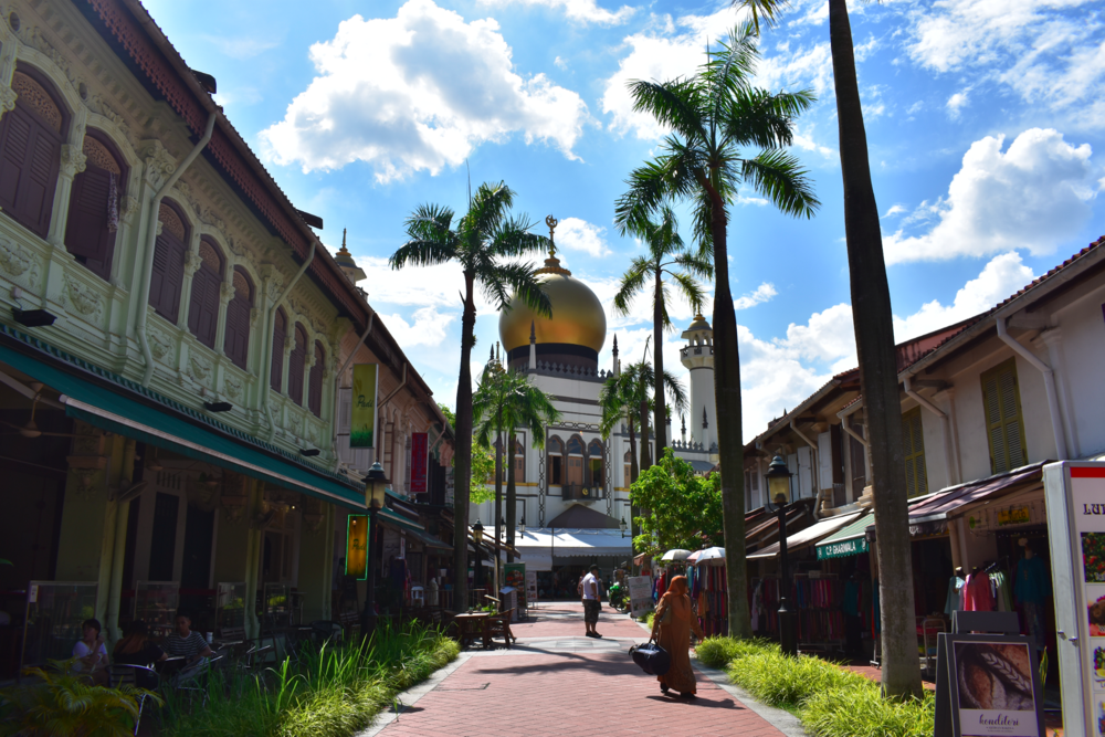 A beautiful day in the Singaporean neighborhood of Kampong Glam, which is rich with mosques and Middle Eastern restaurants