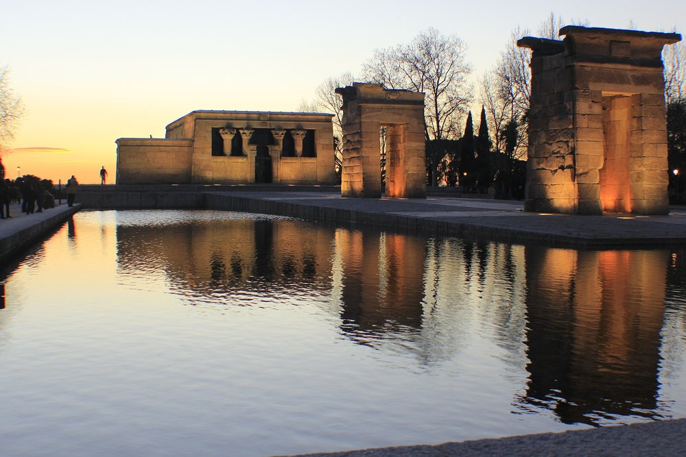 The world famous Debod Temple at sunset.