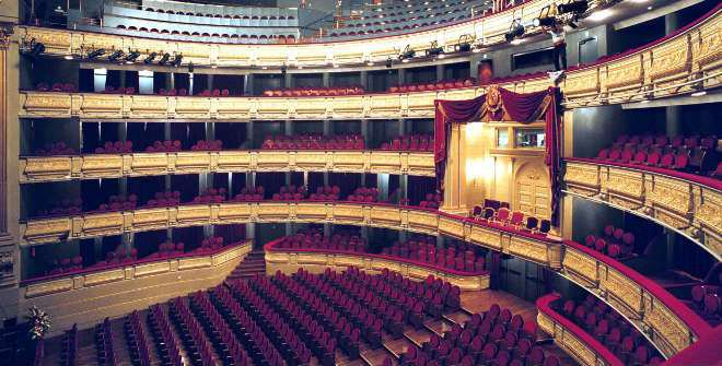 The main auditorium of the Teatro Real.