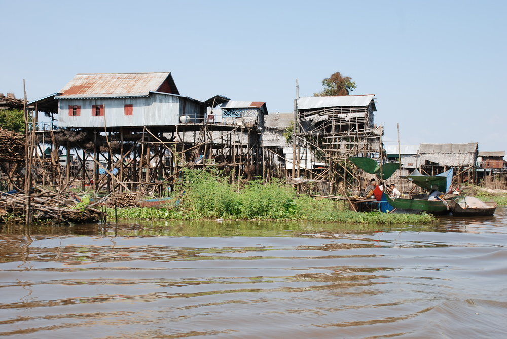 Tonle Sap Lake, Cambodia — houses constructed on high stills to accommodate seasonal flux of water levels