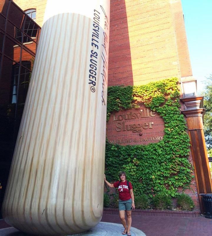 Hanging out with giant baseball bats
