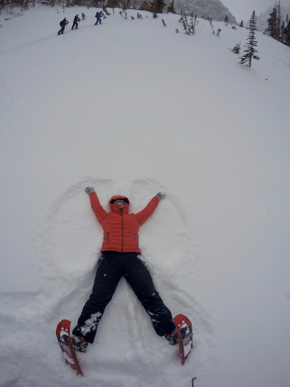 "Making a snow angel at 10,200 ft above sea level on several feet of snow in below five degree weather is a euphoric experience that I would recommend to everyone. Mike called it ""snow angel paradise"" and there is no better way to describe it."